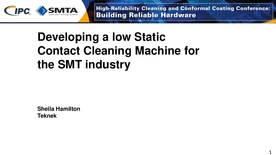Final - Developing a low Static Contact Cleaning Machine for the SMT industry