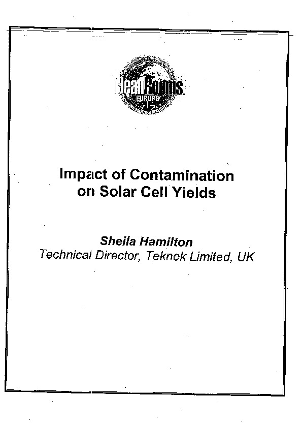 Impact of Contamination on Solar Cell Fields 2009