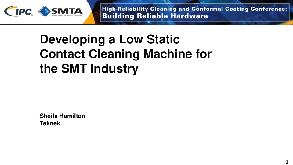 Internal - Developing a Low Static Contact Cleaning Machine for the SMT Industry